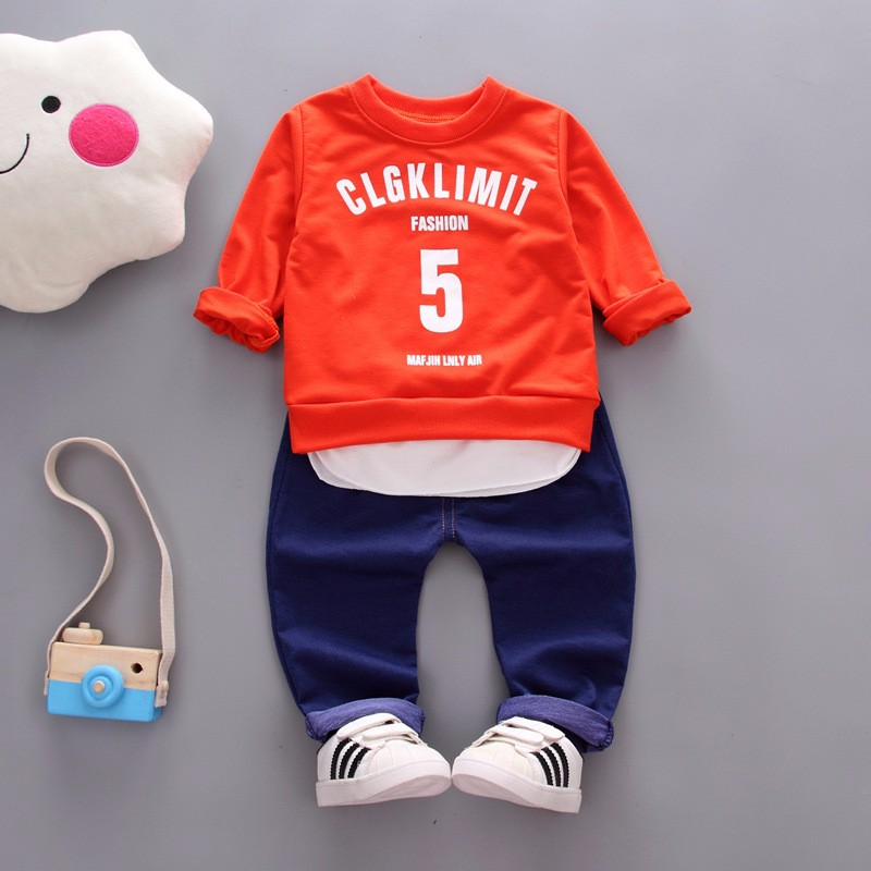 Kids Autumn Clothes Cotton Letter 5 Printed Boys T-shirt Set Casual Children Clothing Girl Winter Clothes For Kids baby clothes kids autumn clothes fashion letter printed boys t shirt set casual children clothing girl winter clothes for kids baby clothing