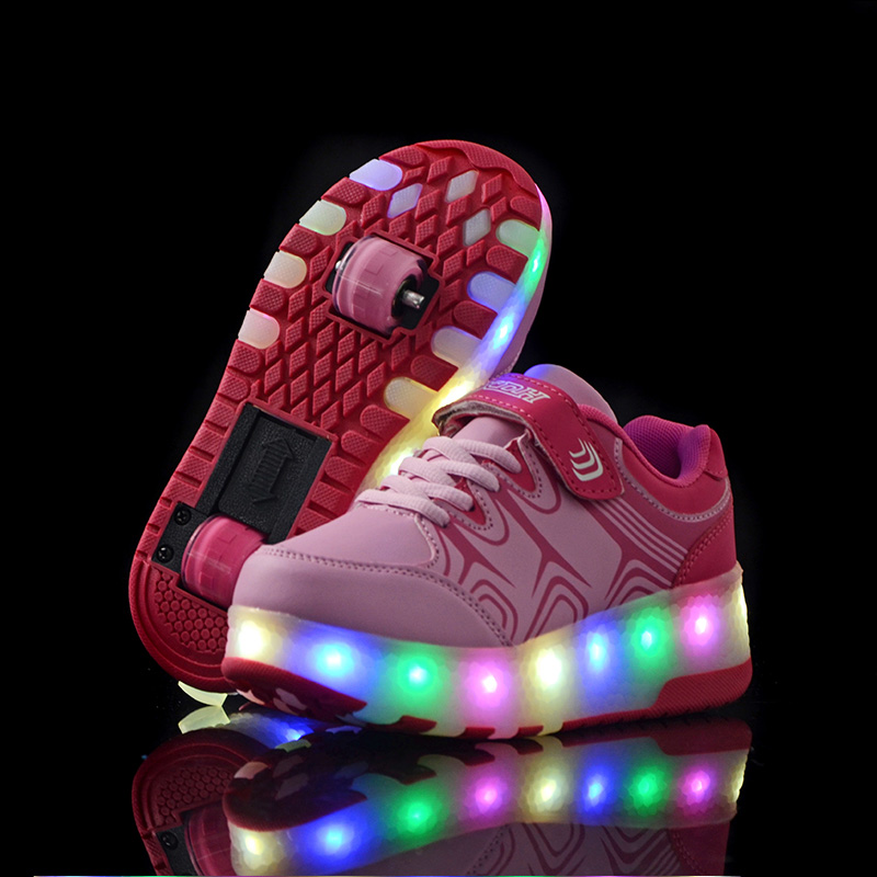 BABAYA Children Glowing Shoes Kids Casual Wheels Skate Shoes Flash Led Boys Girls Light Luminous Sneakers Shoes 36 kids shoes boys led lights sneakers with wheels single wheel glowing children shoes