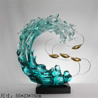 Water like Abstract decorative art hotel entrance crystal sculpture ornaments
