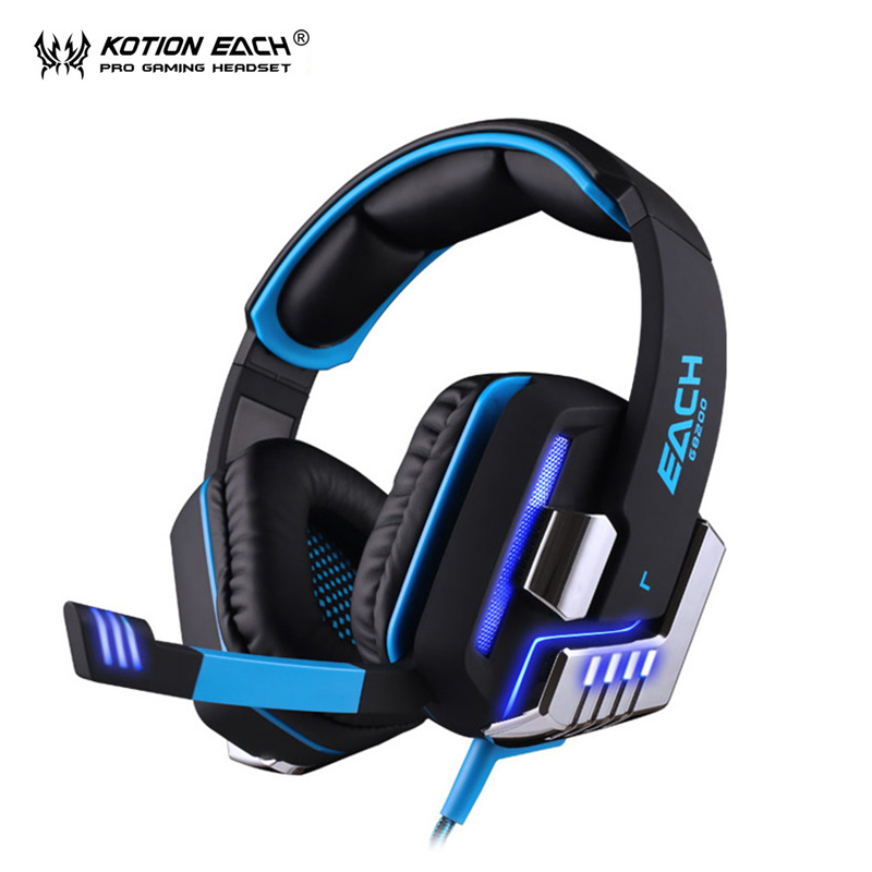 KOTION EACH G8200 7.1 headphones earphone headset earphones gaming headset with Mic LED Light for PC gamer pk xiaomi each g8200 gaming headphone 7 1 surround usb vibration game headset headband earphone with mic led light for fone pc gamer ps4