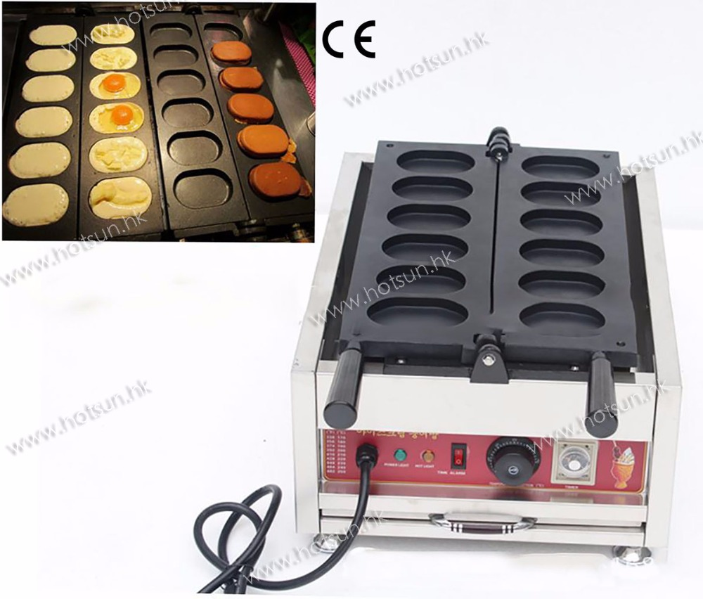 6pcs Korean Egg Bread Commercial Use Non-stick 110v 220v Electric Gyeranbbang Maker Machine Baker Mold Plate 6pcs commercial use non stick lpg gas korean egg bread gyeranbbang machine iron baker maker