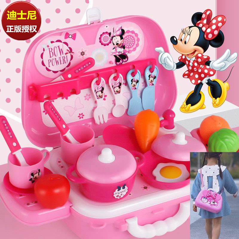 Genuine Disney Minnie Kitchenware Simulation Set Girl Cooking Toys  Backpack Cute Cartoon Mickey Mouse Gifts