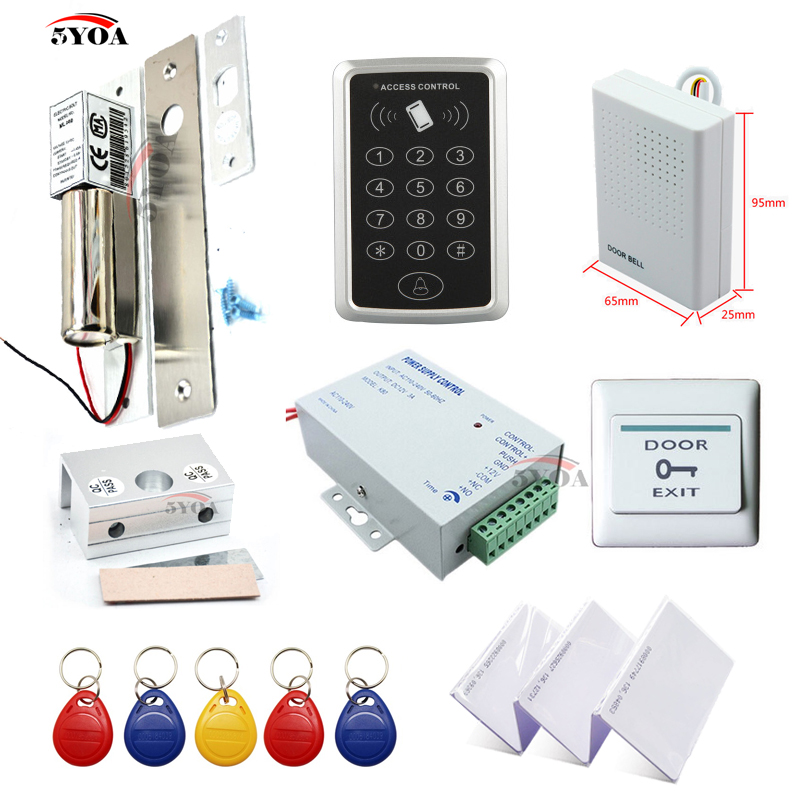 RFID Access Control System Kit Frame Glass Door Set Electric Bolt Door Lock ID Card Keytab