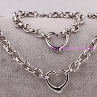High Polishing Silver Round Link For Womens Birthday Gift Jewelry 316L Stainless Steel With Heart Bracelet