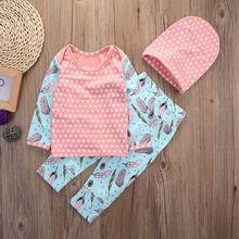 2017 Toddler Infant Baby Girls Pink Tops T-shirt Pants Leggings Hat 3pcs Outfits Set