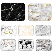 Doormat Kitchen Carpet Anti-Slip Waterproof Nordic Style Marble Map Polyester Rubber Bottom Bathroom Floor Dustproof Mats 48224(China)