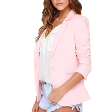 2017 fashion Women Slim Blazer Coat Autumn pink single button Long Sleeve Small Suit Blazer lady casual Notched Office jacket