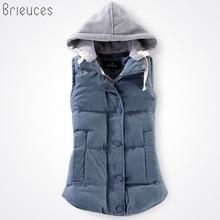 Brieuces autumn and winter vest women 2017 cotton vest with a hood patchwork cotton vest female reversible winter jacket women