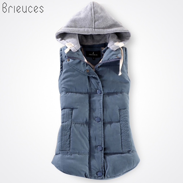 Brieuces autumn and winter vest women 2017 cotton vest with a hood patchwork cotton vest female reversible winter jacket women