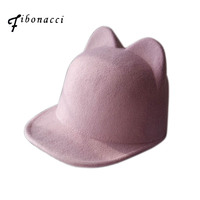 Fibonacci Wool felt fedora hat solid color cat ears flat eaves fashion hat for women equestrian knight caps