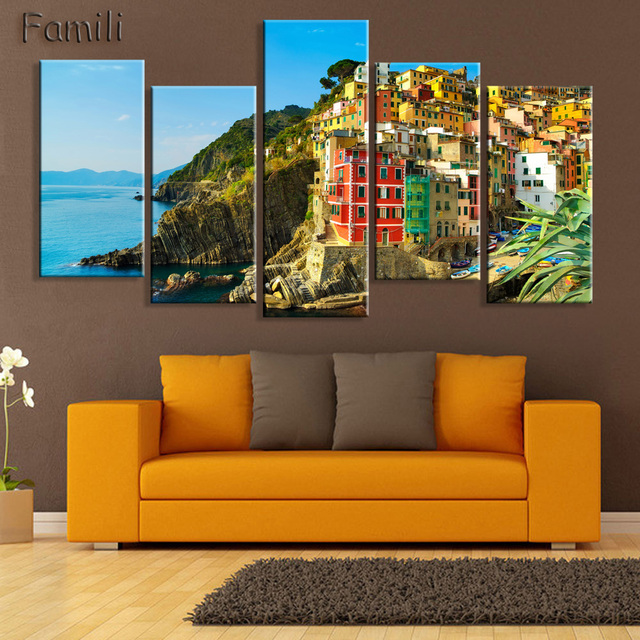 HD 5PCS Wall Art Canvas Fabric Poster Italy Town Landscape Panorama For Room Decor Home Decoration  sc 1 st  AliExpress.com & HD 5PCS Wall Art Canvas Fabric Poster Italy Town Landscape Panorama ...