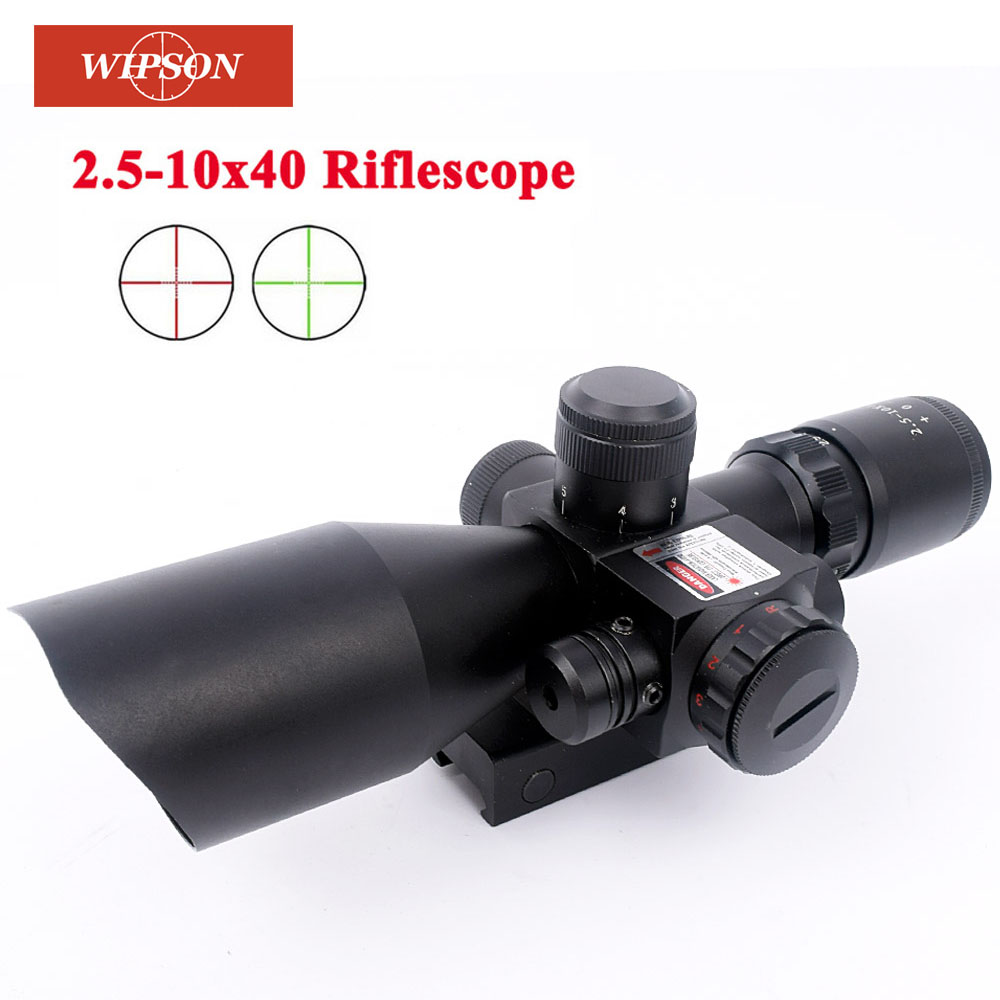 Free shipping 2.5-10X40 Riflescope Illuminated Tactical Riflescope with Red Laser Scope Hunting Scope 2 5 10x40 hunting riflescope red green laser dual illuminated scope mil dot rail mount shockproof hunting tactical riflescope