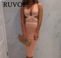 2017 Summer Wholesale Sexy Lady Pink Backless Spaghetti Strap V Neck Bandage Dress Women Female Solid