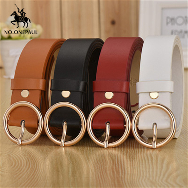 NO ONEPAUL female deduction side gold buckle jeans wild belts for women fashion students simple New