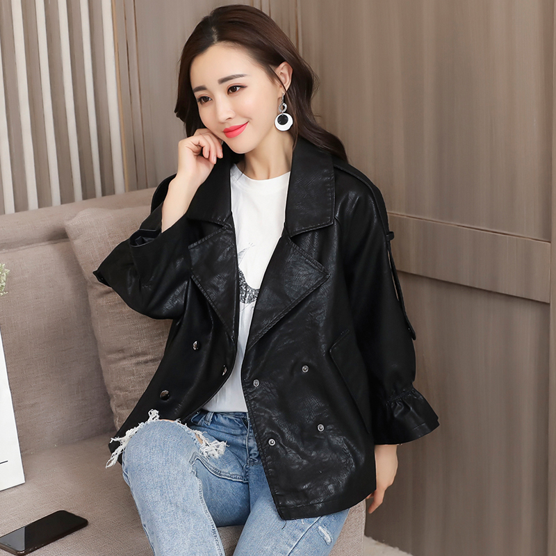 2018 New Design Autumn Winter PU Leather Jacket Women Faux Soft Leather Coat Black Khaki Plus Size S-XXL Motorcycle Jackets 4