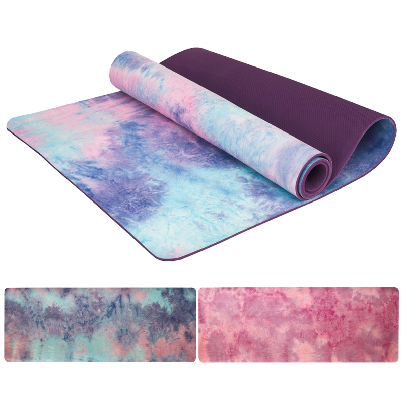 Tapis de Yoga sport Gym 5mm daim Tie-colorant antidérapant Fitness perte de poids Pilates mince tapis de Yoga aérobie Camping exercice tapis de Massage