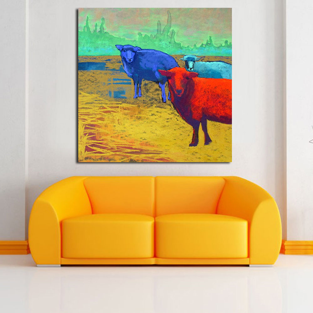 JQHYART Wall Printed Three Sheep On The Farm Landscape Oil Painting ...