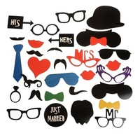 31Pcs Wedding Photo Booth Costume Props Picture Frame Dress Up Mask Hen Party Game