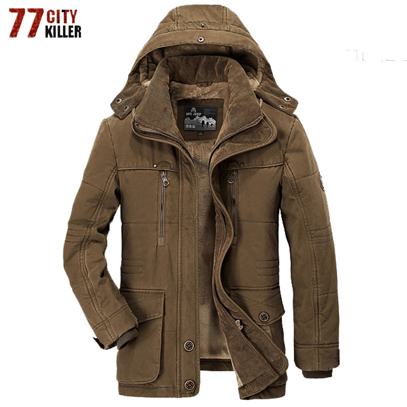 New 2019 Brand Thick Winter Parkas men Warm Cotton-Padded Jacket men Fleece With Fur parkas hombre invierno Plus Size 6XL 7XL
