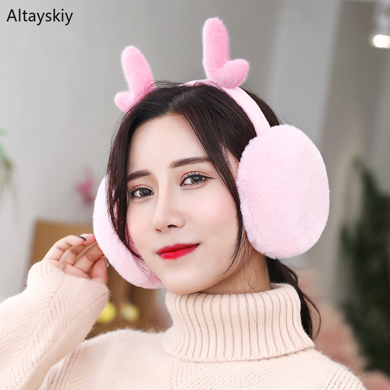 Earmuffs Women Winter Lovely Cotton Plush Antifreeze Deer Womens Ear Warmers High Elasticity Korean Style Soft Leisure Earmuff