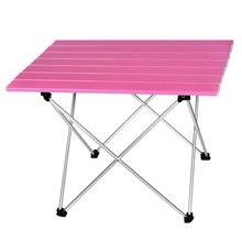 Tragbare Outdoor BBQ Camping Picknick Aluminium Legierung Klapptisch Leichte Licht Farbe Ausgestattete 5 Farben Mini Rechteck Tisch