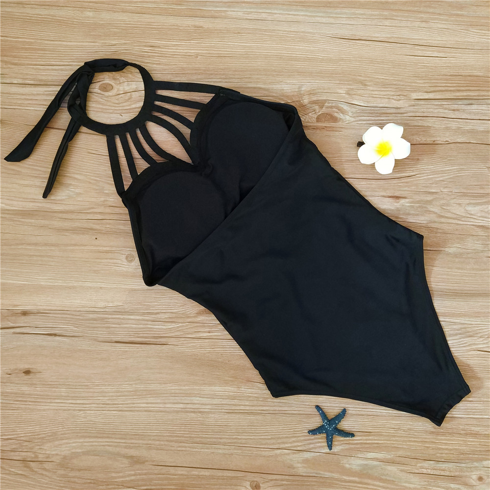 Monokini Women One Piece Swimwear Black 6