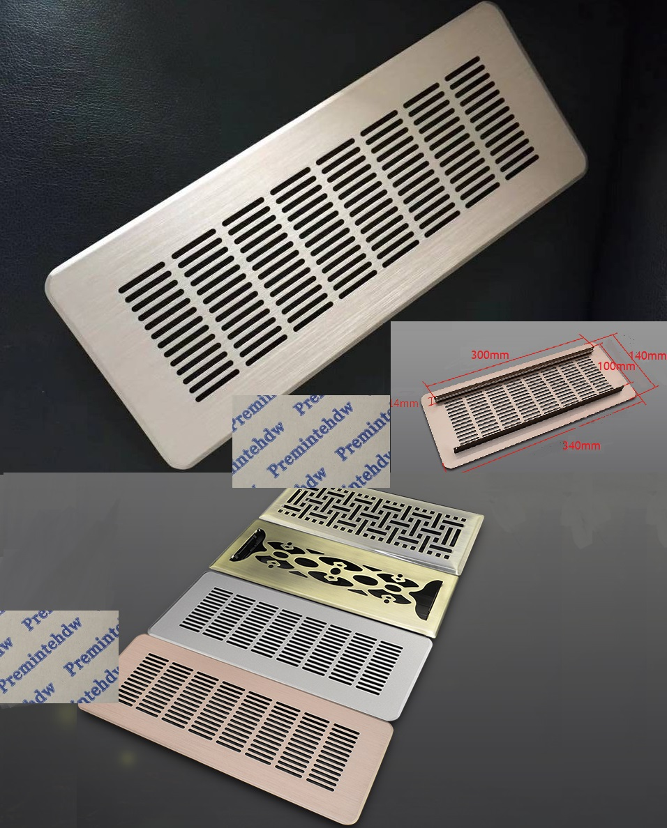Premintehdw 140×340mm Rectangle Aluminum Air Vent Ventilator Grille Cover Cover Air Conditioner Royal European Rose Gold Bronze