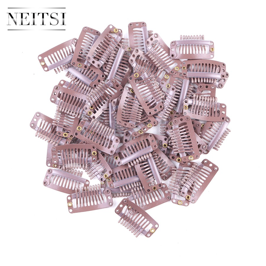 Neitsi I Shape Clips Stainless Steel Hair Snap Clips for Feather Clip In Hair Extensions Wigs Weft 3.2cm 50pcs/pack Brown Color