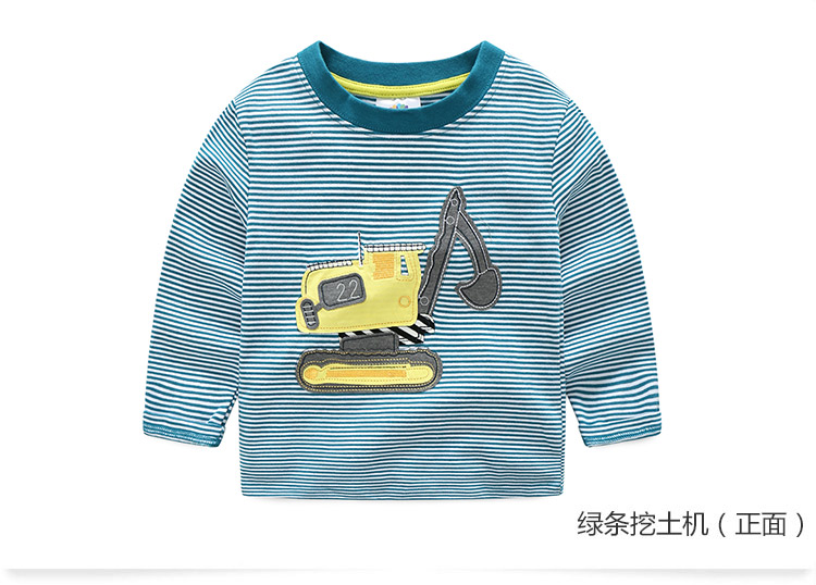 2018 Spring Autumn For 2-9 10 Years Children Cotton Striped Patchwork Cartoon Car Bus Truck Baby Kids Boys Long Sleeve T Shirts (26)