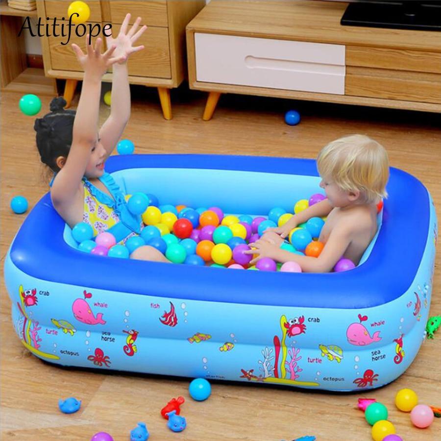 Kids Inflatable Pool Underwater World Children Bathtub Rectangular Kids Swimming Pool With Soft Bottom Inflatable Ball Pit