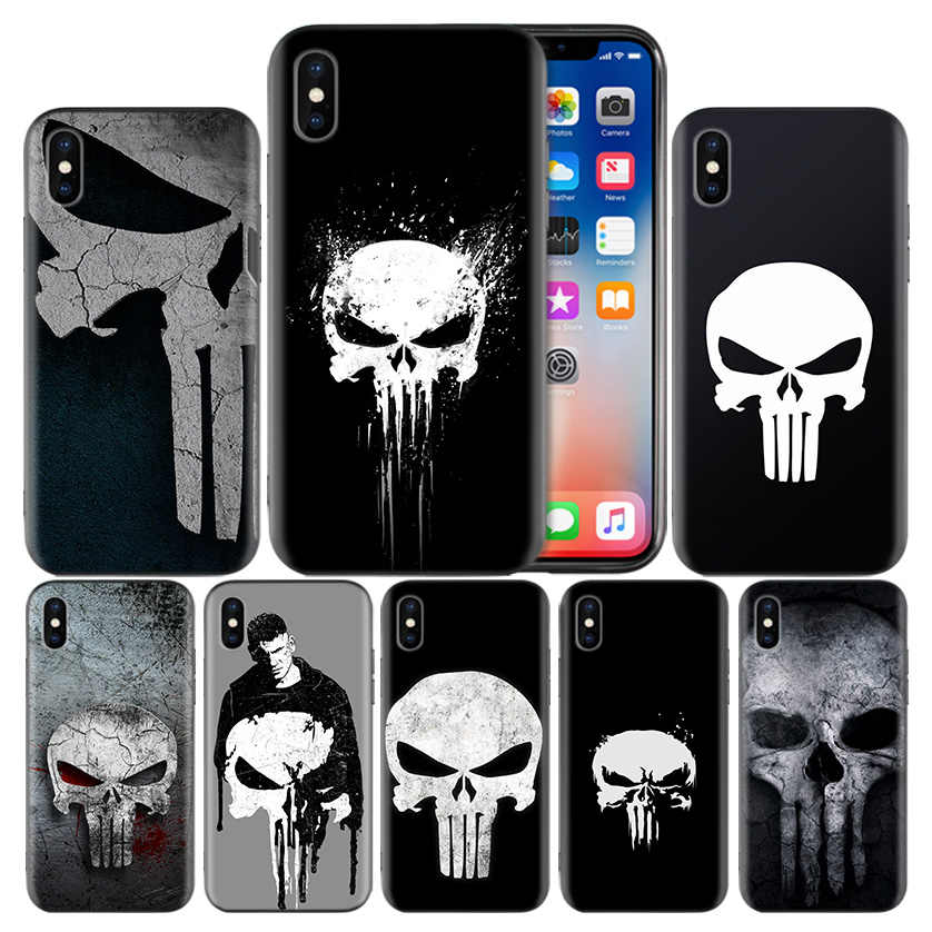 Marvel Punisher Frosted Fundas สำหรับ Apple iPhone 7 8 6 6 S Plus X XS MAX XR 5 5 S 5C SE 10 ป้องกัน Coque