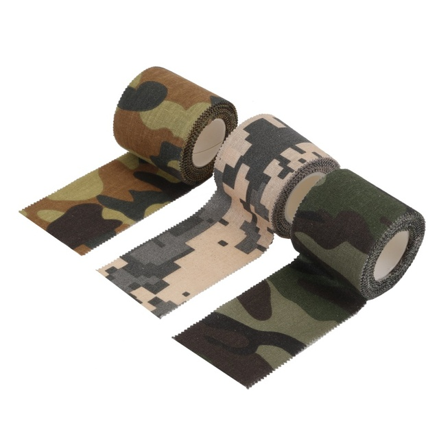 Army Non Woven Cohesive Bandage 5M Self adhesive Non woven Camouflage Cohesive Camping Hunting Stealth Tape