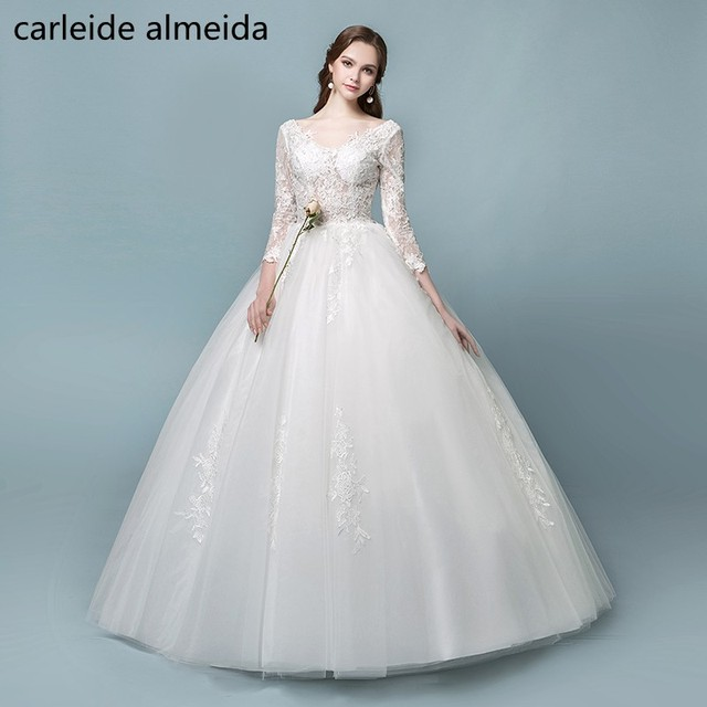 Vestidos de Novia V Neck Ball Gown Cheap Wedding Dress 2018 With 3/4 ...