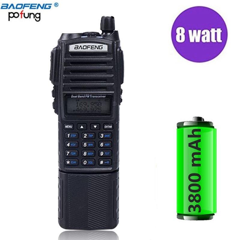 Baofeng UV-82 Plus Talkie Walkie 8 w Puissant 3800 mah A Prolongé La Batterie UV82 Double PTT Bande Émetteur-Récepteur Radio Amateur Jambon BF UV 82
