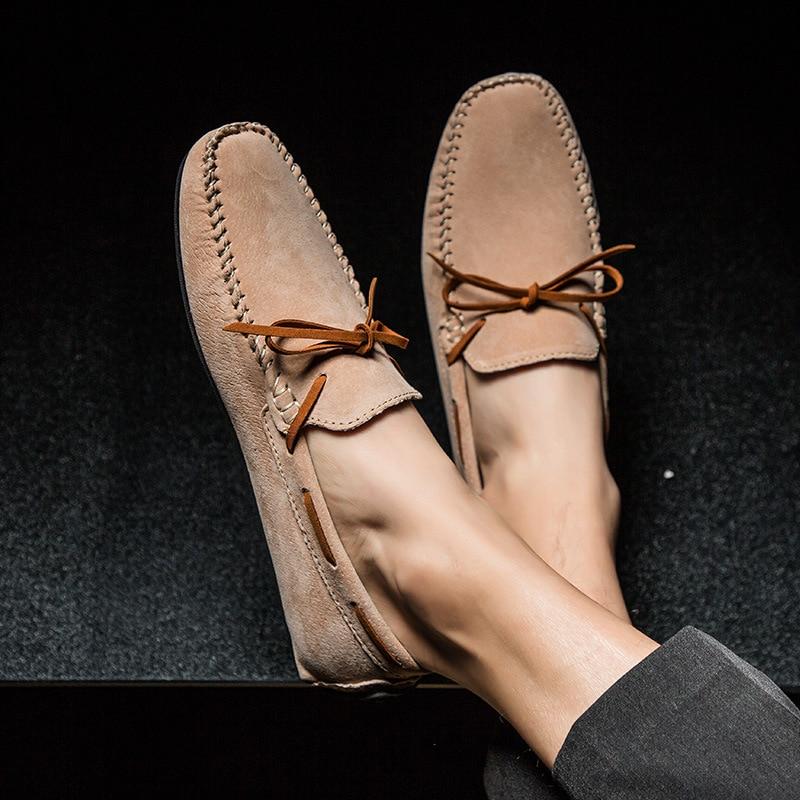 Condução Homens Concisas cáqui Primavera azul verde Plana Sólida De Moda Preto Deslizamento Sapatos Sobre Casuais Para Confortáveis cáqui Autumm Escuro 8I1xwnfCqS