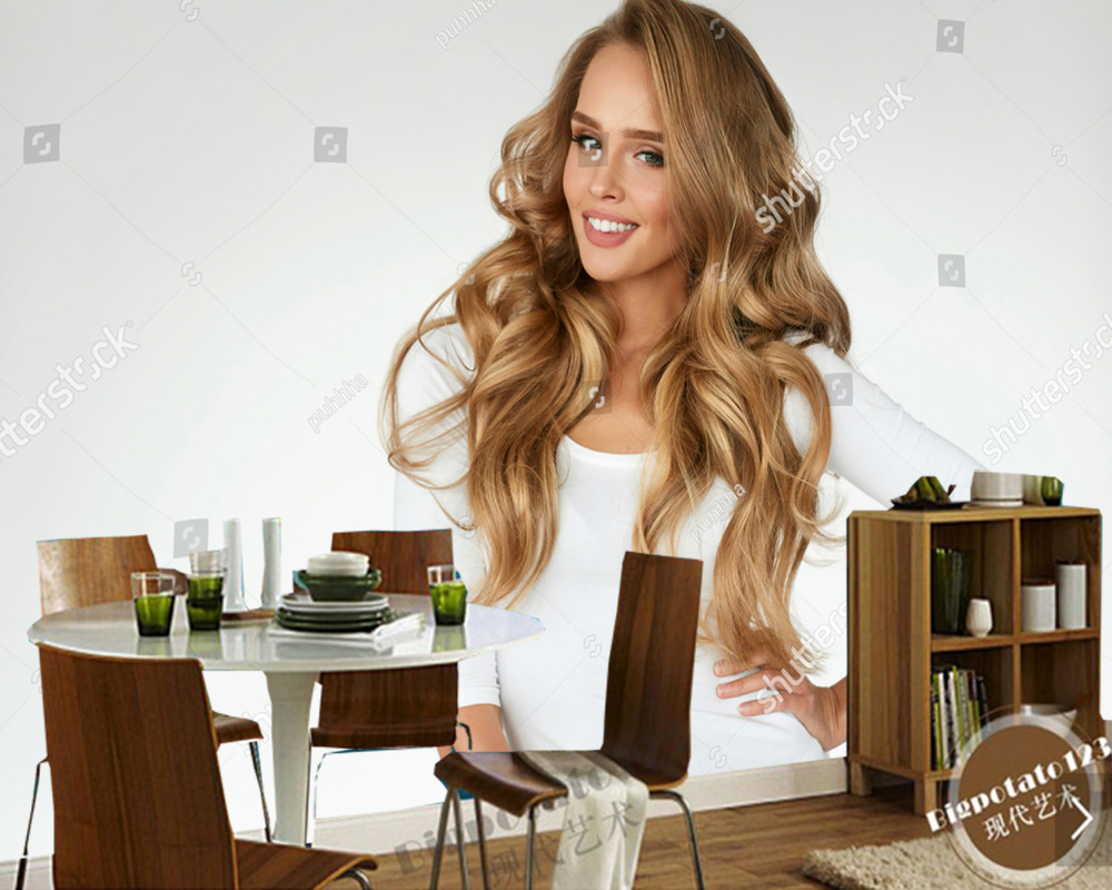 Custom photo wallpaper,hd beauty of Beautiful Curly Hair for hairdressing shop beauty shop fashion clothing shop background wall