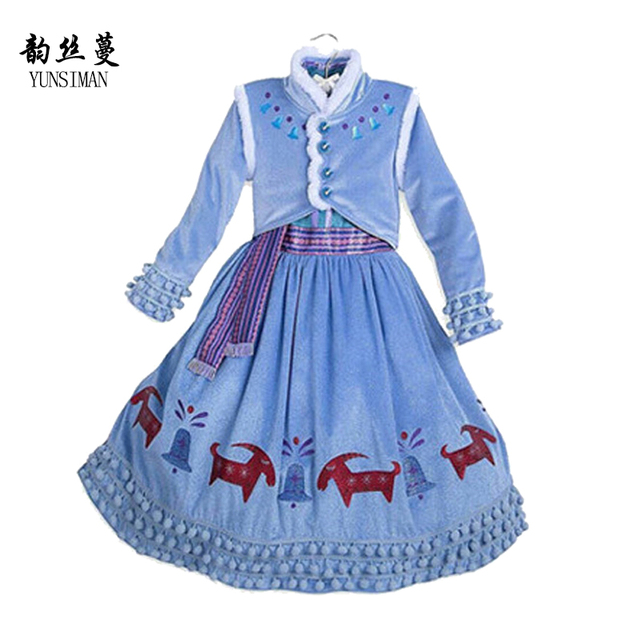 d1366cfc3c44 kids girls sofia dress 3 4 5 6 7 8 years long sleeve button cartoon print  elsa costume Christmas clothing baby girl frocks 2L39
