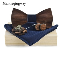 Mantieqingway Mens Wooden Bow Tie Set for Wedding Suit Wood Bowties Brooch Handkerchief Cufflinks Set Gravatas Slim Shirt Ties