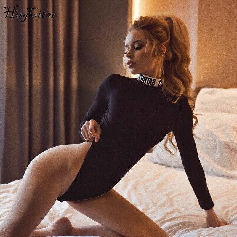 Hugcitar Cotton Long Sleeve High Neck Letters Print Patchwork Bodysuit 2019 Autumn Winter Women Fashion Body