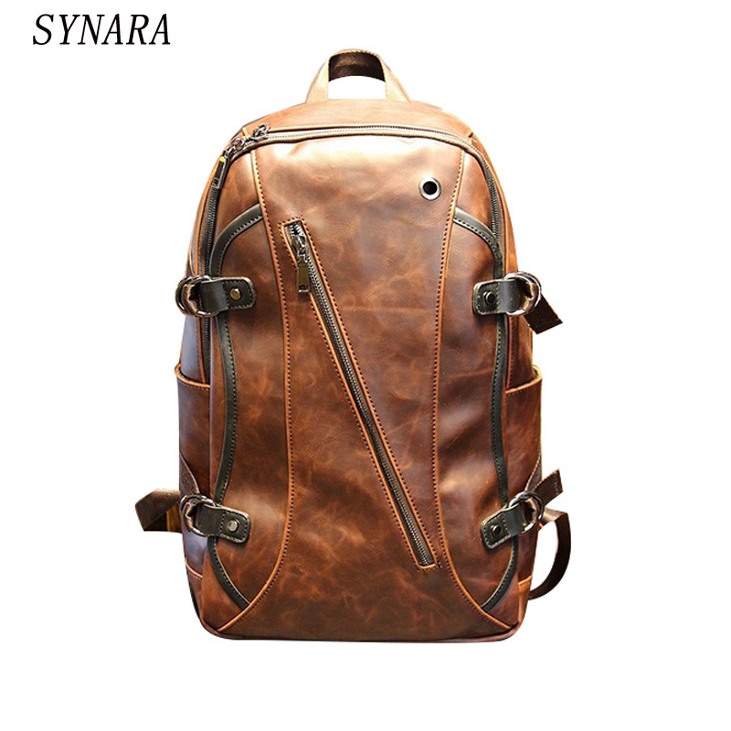 new Retro men backpacks Crazy horse pu leather 14-inch computer backpack bag Students school bag color Brown 45*26*10cm