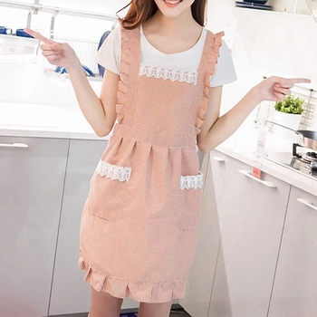 Korean fashion apron waterproof kitchen oil-proof nail shop milk tea shop coffee shop beauty salon overalls women double-layer