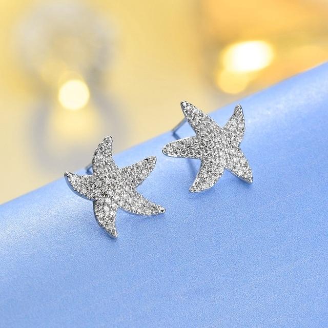 Fashion Cz Cubic Zircon Sea Star Starfish Stud Earrings For Women Gold Silver Love Ocean
