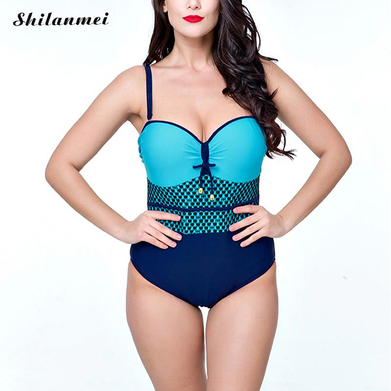 2017 One Piece Swimsuit Sexy Backless Swimwear Women Bathing Suit Swim Summer Beach Wear Print Monokini Swimsuit Plus Size 6XL lanshifei sexy backless one piece swimsuit women swimwear deep v neck solid color bathing swim suit monokini beach wear