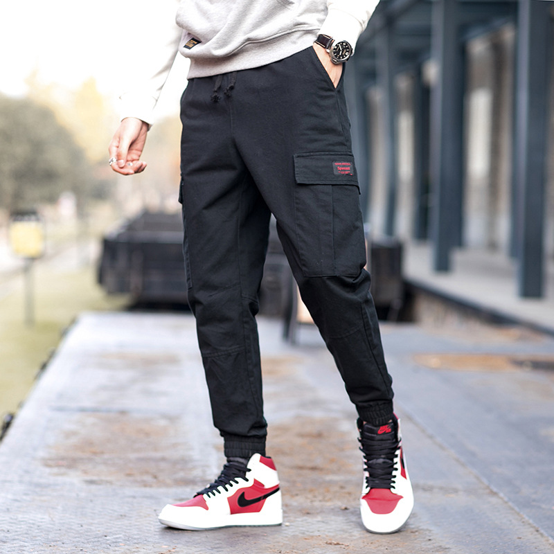 Spring New Mens Overalls Trousers Mens Wild Trend Solid color Multi-pocket Casual Pant M ...