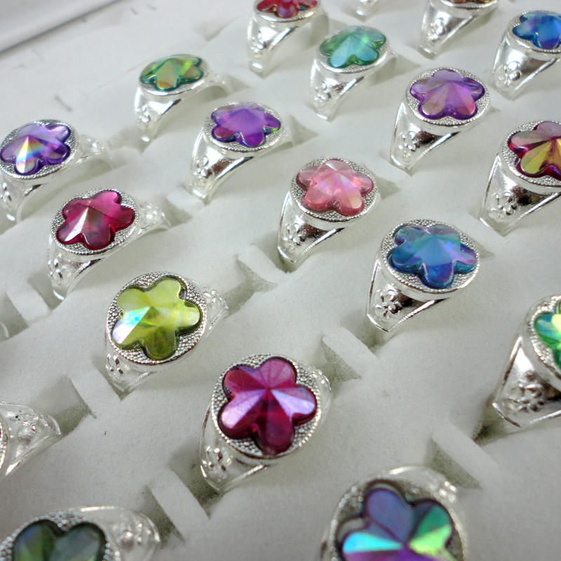 30Pcs Mix Color Silver Plated Crystal Ring For Children Boys Girls Wholesale Jewelry Rings Bulks Lots Hot Sale LR345