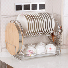 High Quality Multi-functional Stainless Steel Two-tier Storage Rack Dish Plate Bowl Drying Rack Organizer Drainer Storage Holder