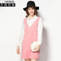 2017 Large Size Shirt Dresses Women Turn Down Collar Double Breasted Spring New Thin Fake Two