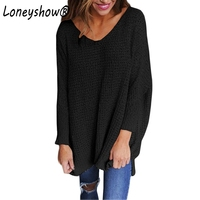 Loneyshow 2017 New Autumn Women Sweaters 6 Colors Knitted Sweaters Casual V Neck Female Pullovers Fashion
