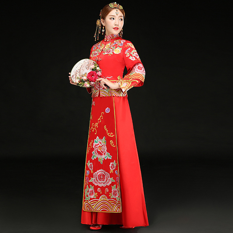 China Wedding Dress Traditional Chinese Dresses For Women Long Qipao Cheongsam Red Phoenix Embroidery Vestido Oriental Bride все цены