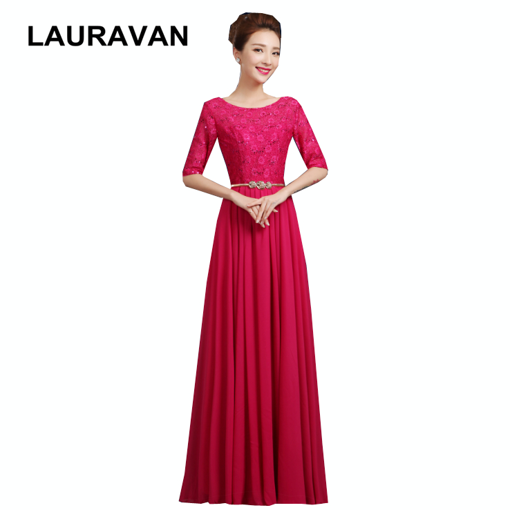 Glamorous Unique Formal Burgundy Hot Pink Fuchsia Lace Trendy Bridesmaid Gowns Ladies Red A Line Dresses For Special Occasions